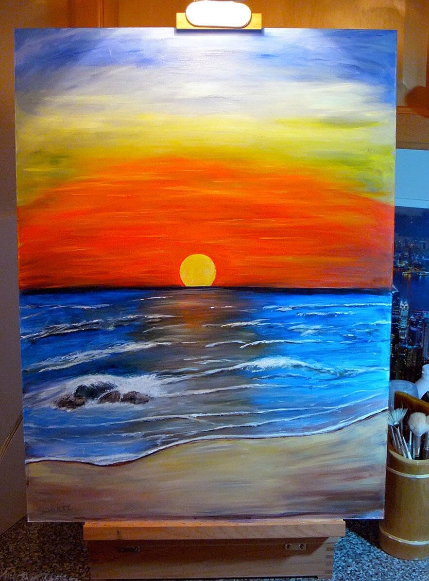 Море рисовать акриловыми красками на